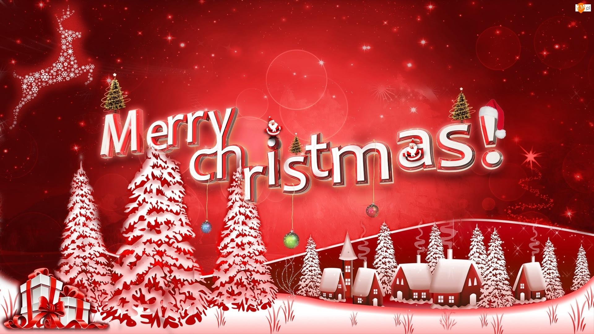 Prezenty, Domy, Grafika, Christmas, Czerwona, Merry, Biało, Napis, Choinki, Bombki