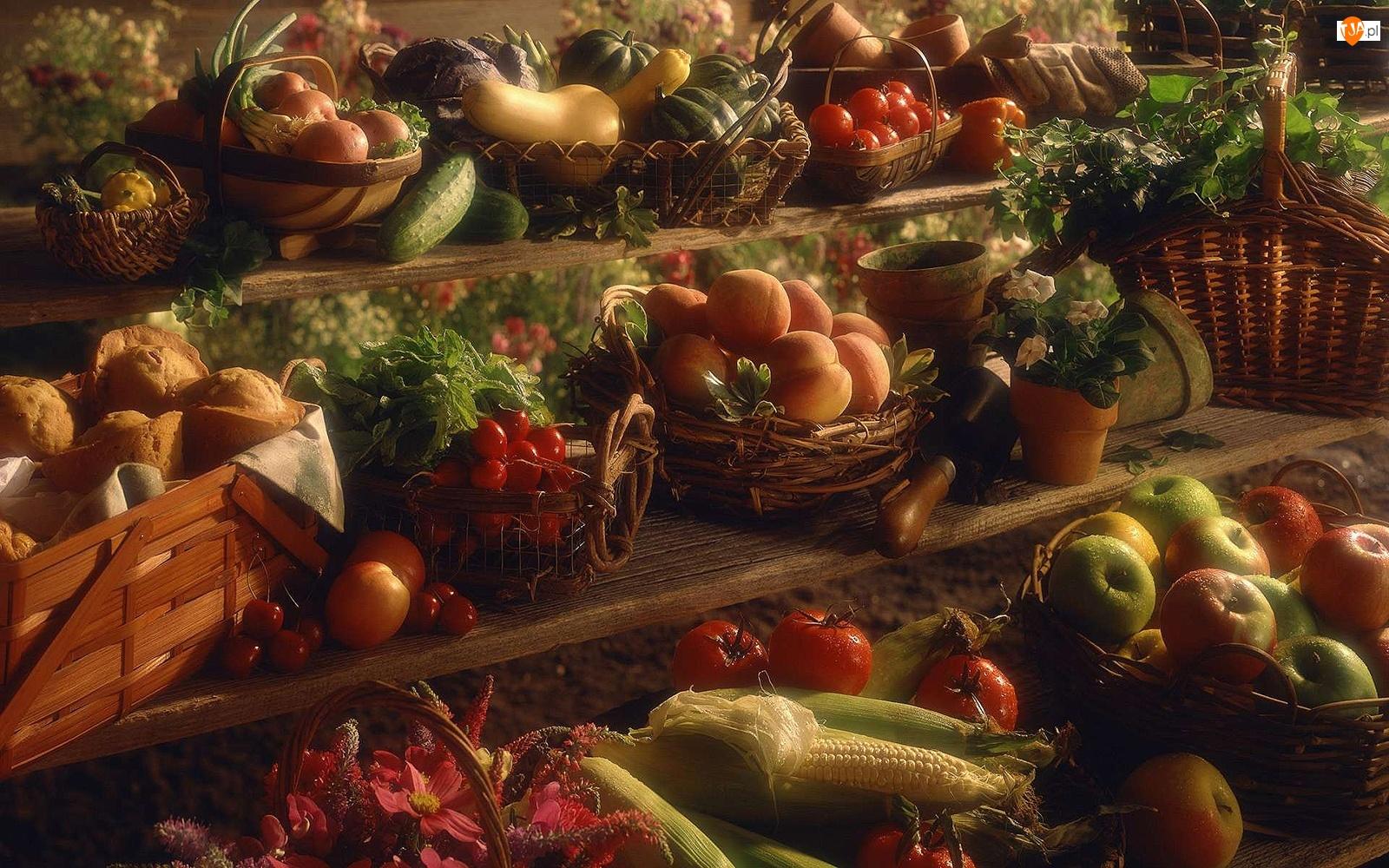 Kukurydza, Brzoskwinie, Ogórki, Cukinie, Jabłka, Rzodkiewki, Stragan, Pomidory