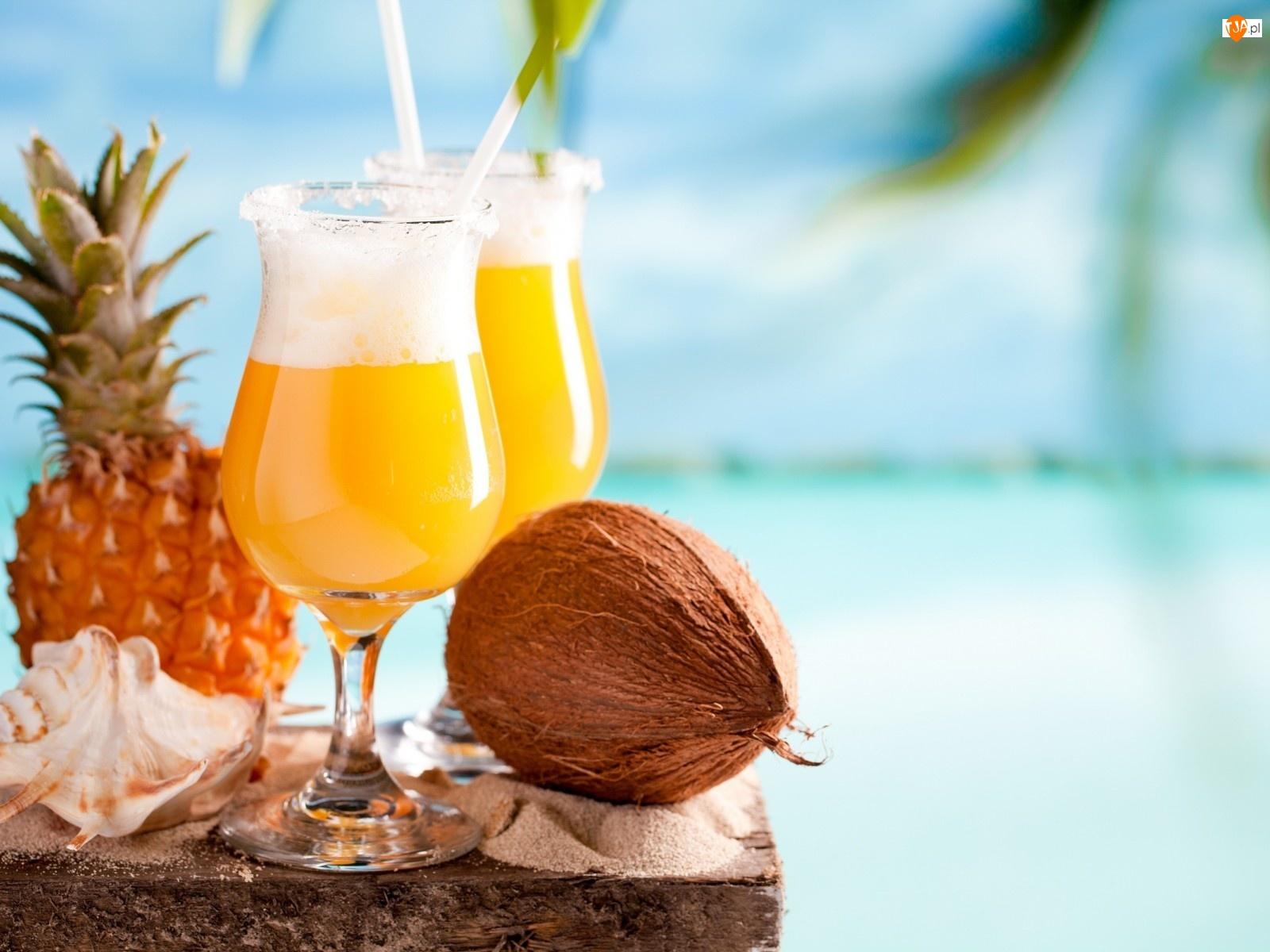 Muszelka, Dwa, Kokos, Drinki, Ananas