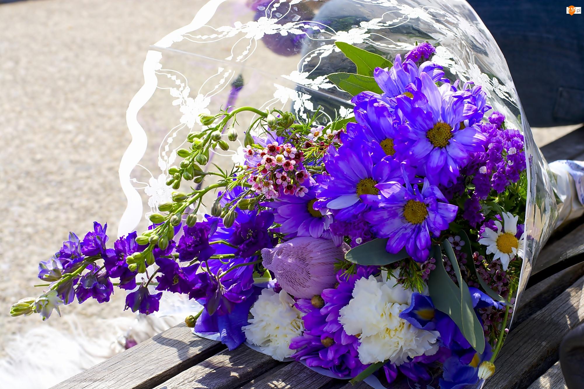 Fioletowe, Bukiet, Kwiaty