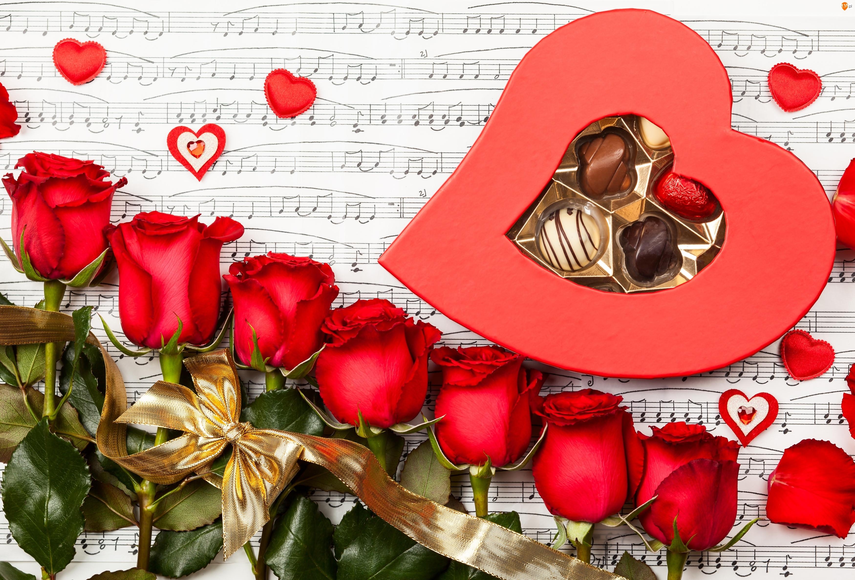 Walentynki, Serduszka, Czerwone Róże, Czekoladki