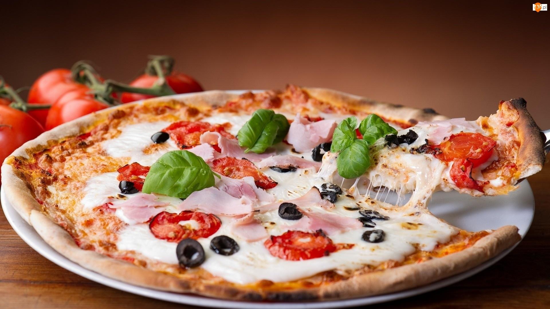 Oliwki, Bazylia, Pizza, Ser, Szynka, Pomidory