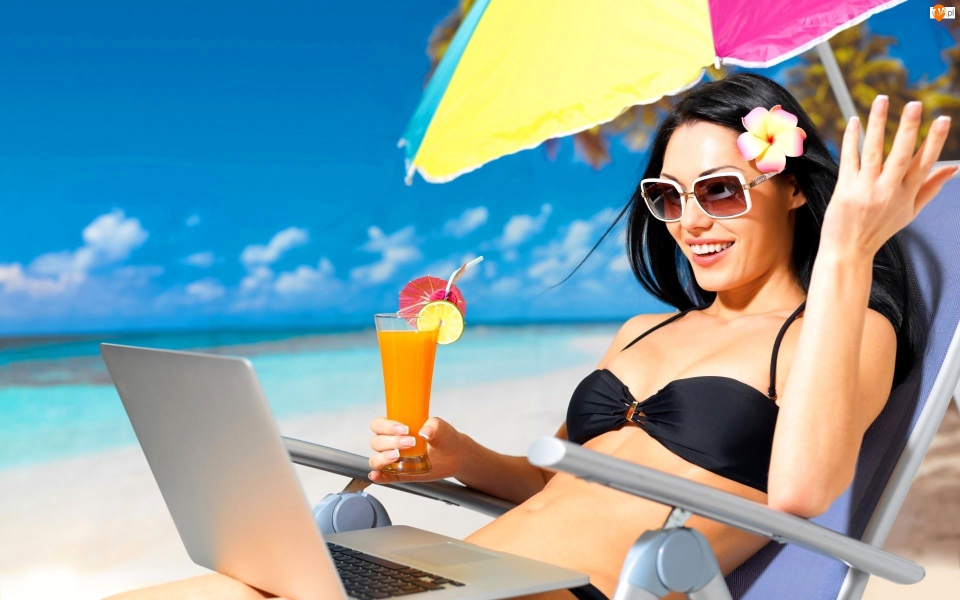 Kobieta, Drink, Morze, Laptop, Plaża, Okulary