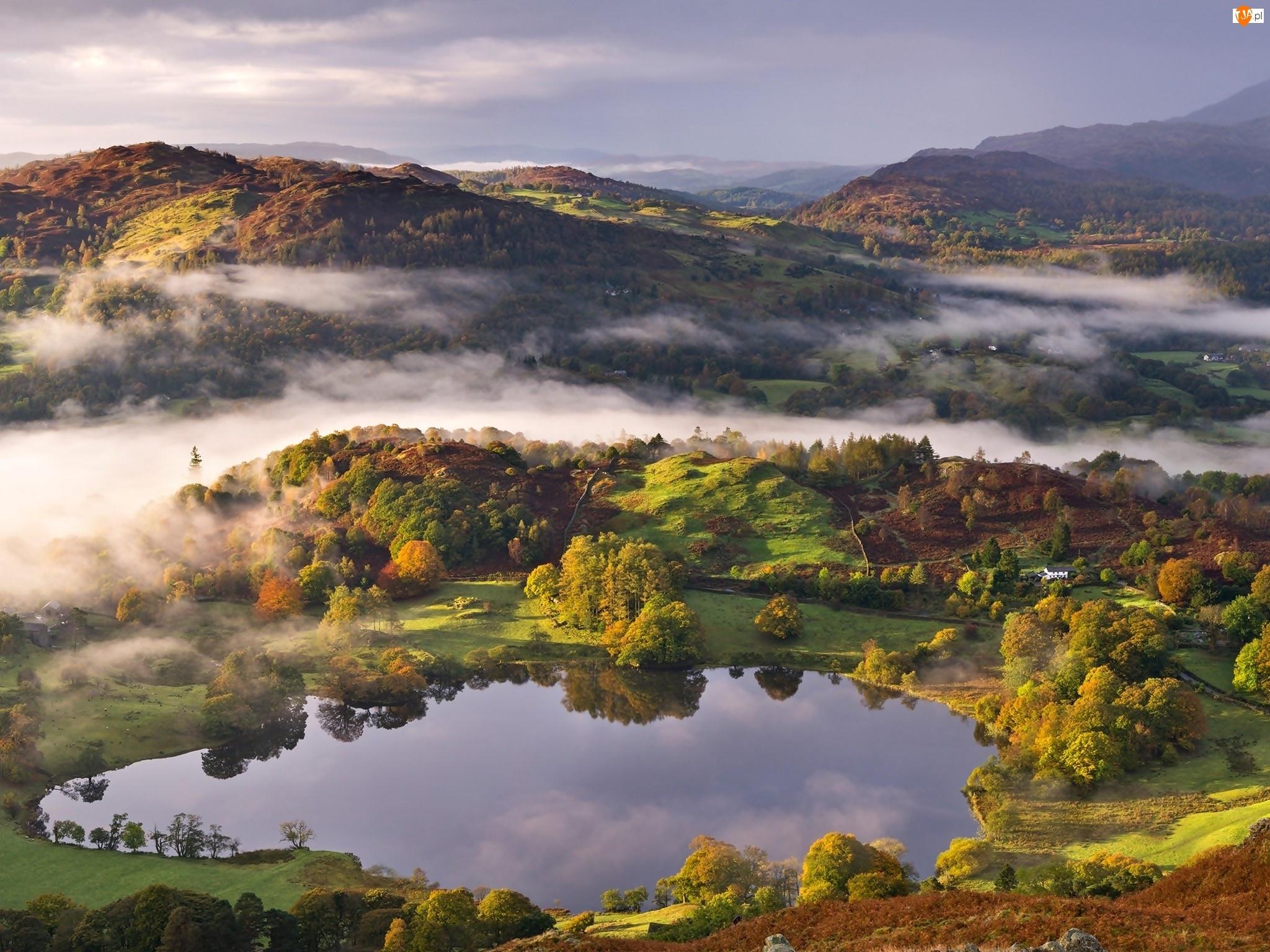 Góry, Lasy, Narodowy, Mgła, Park, Anglia, Lake District, Jezioro