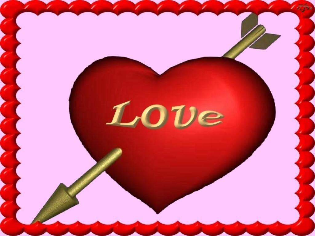 strzała, Walentynki, serce
