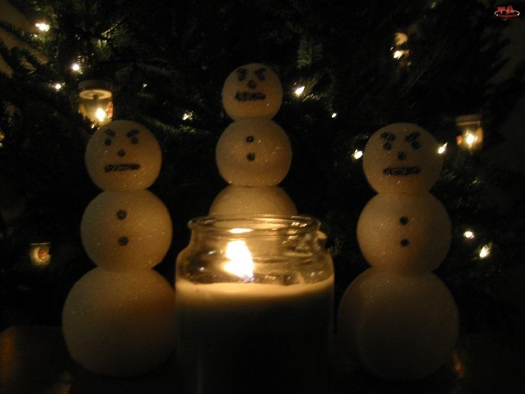 Dekoracja, Świeczka, Świąteczna, Bałwanki