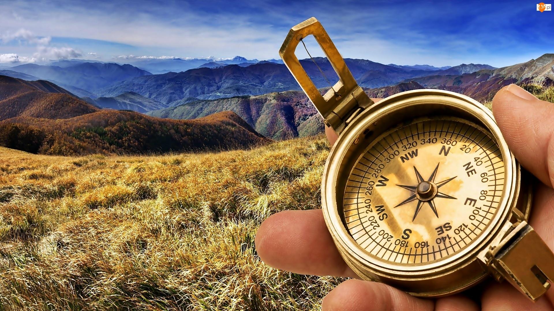 Kompas, Góry, Jesień, Łąka, Dłoń