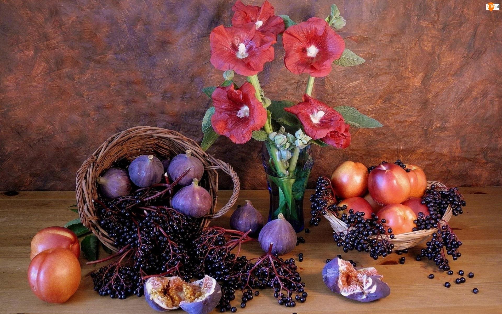 Flakon, Owoce, Kwiaty, Kompozycja, Malwy, Figi