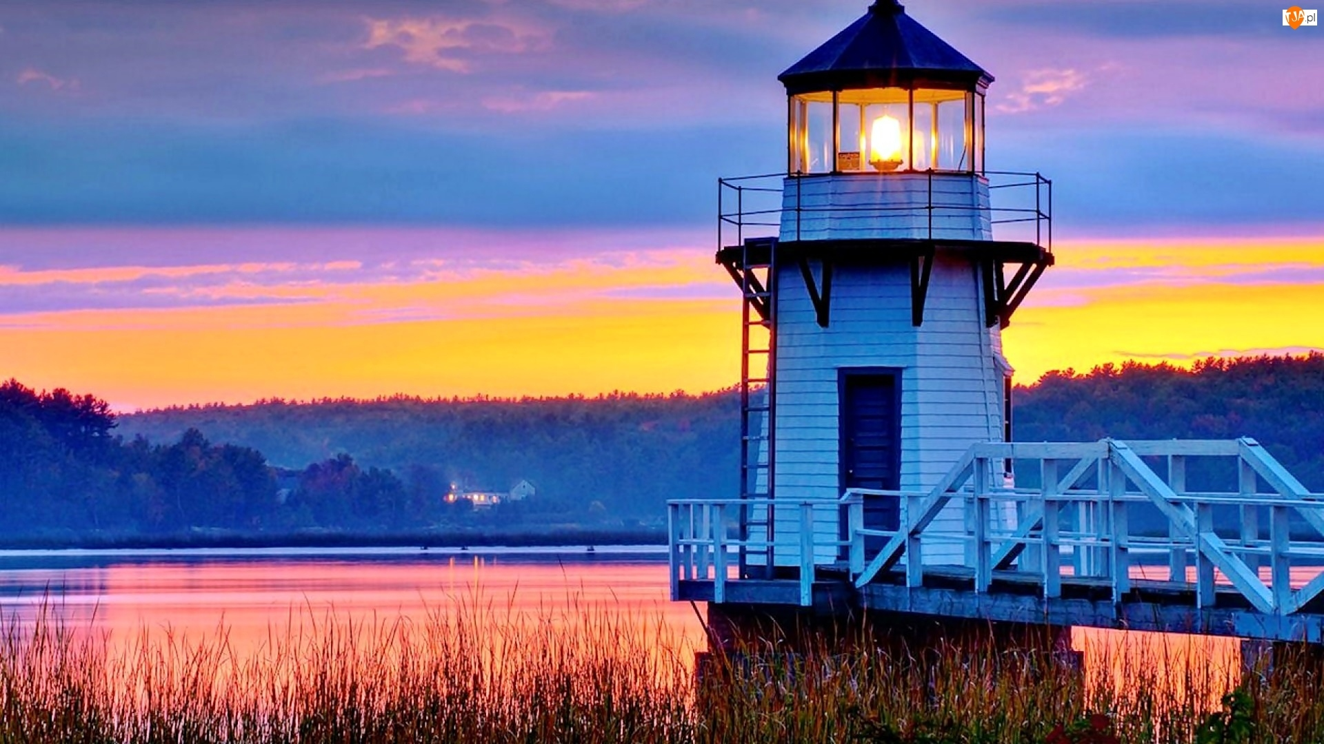 Morska, Kennebec, Arrowsic, Maine, Las, Rzeka, Latarnia