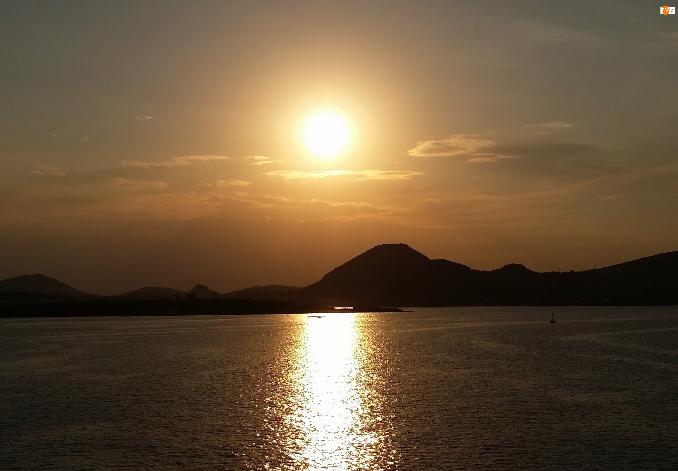 Góry, Grecja, Słońca, Zachód, Morze