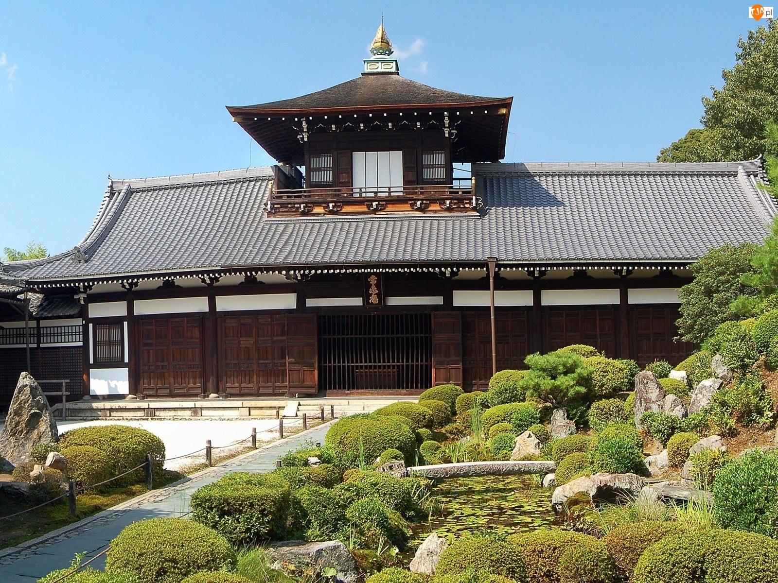 Krzewy, Japonia, Ogród, Dom, Kamienie