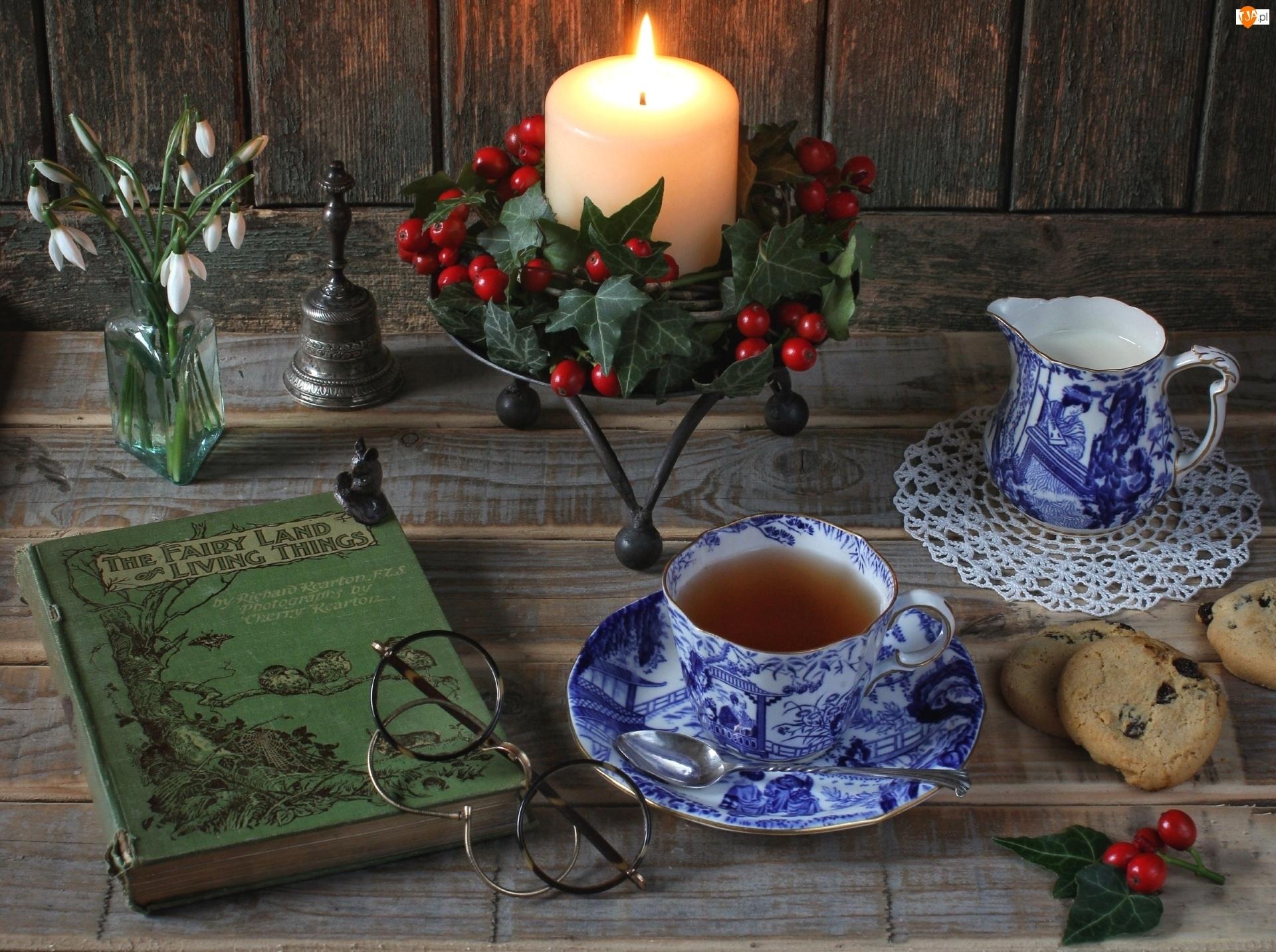 Herbata, Dekoracja, Mleko, Ciasteczka
