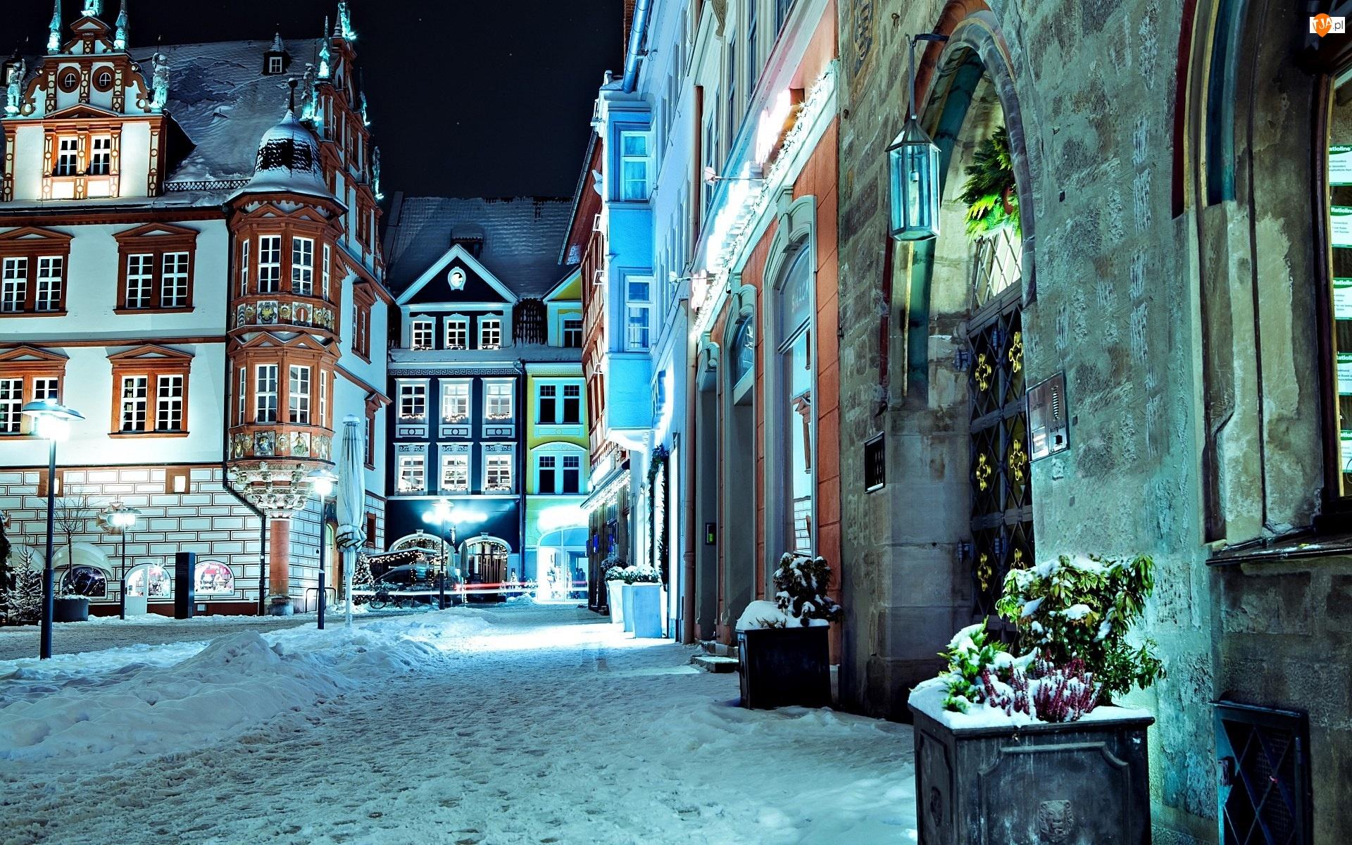 Niemcy, Zima, Ulica, Domy, Noc