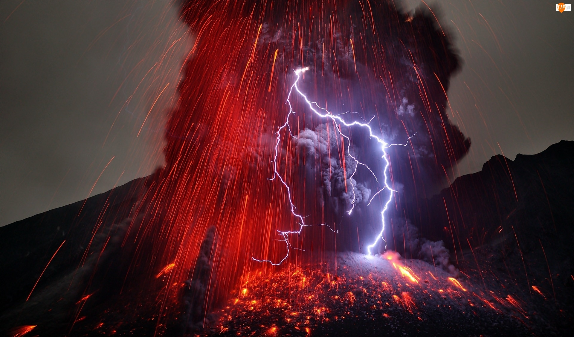 Burza, Wyspa, Erupcja, Kiusiu, Wulkanu Sakurajima