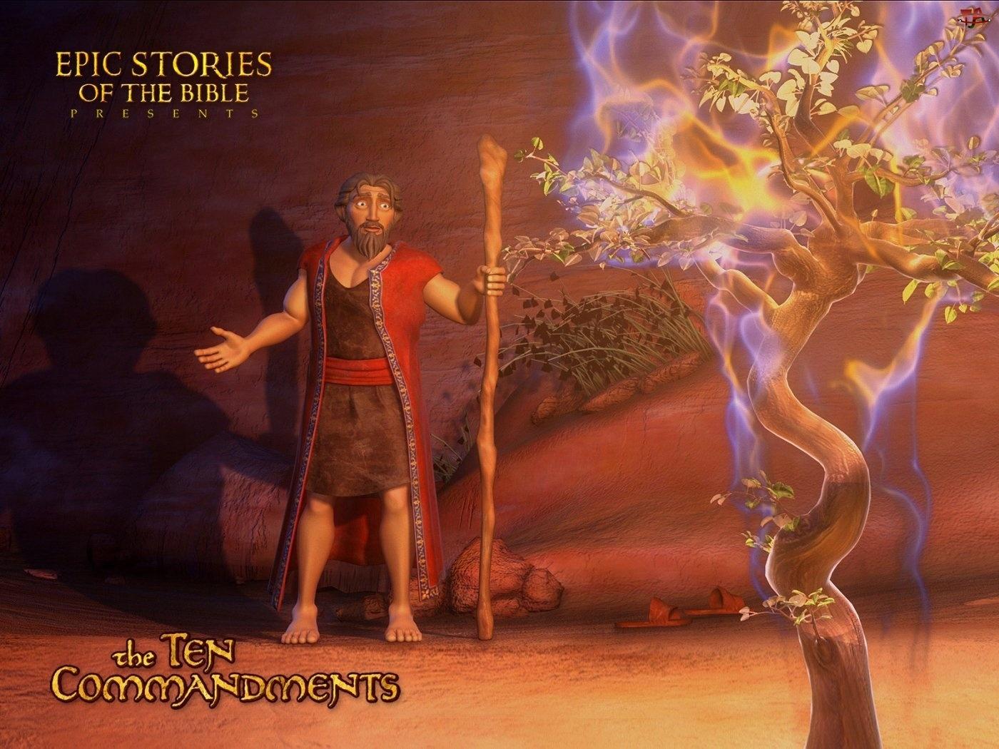 10 Przykazań, Krzak, Mojżesz, Płonący