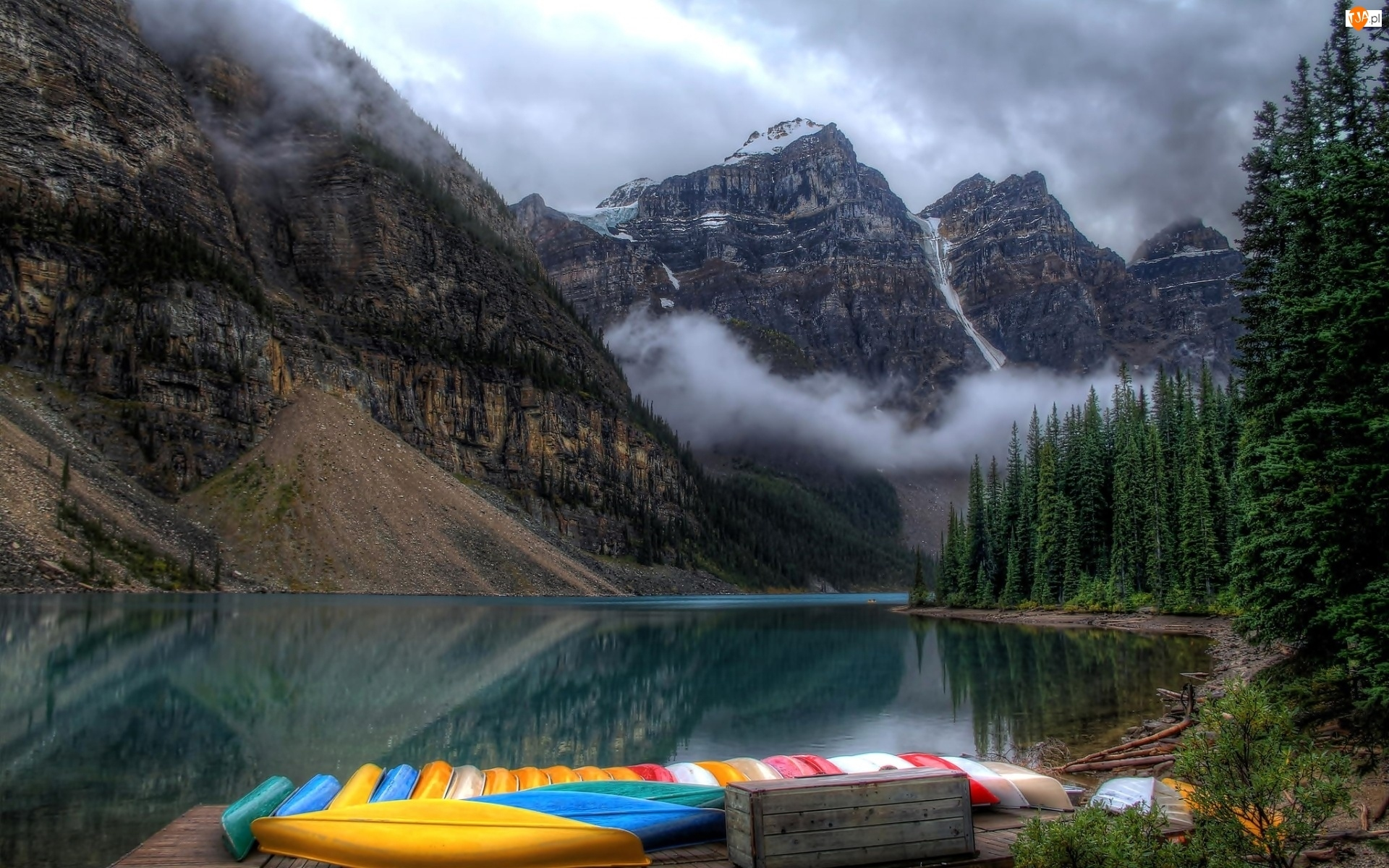 Kajaki, Góry, Mgła, Las, Jezioro
