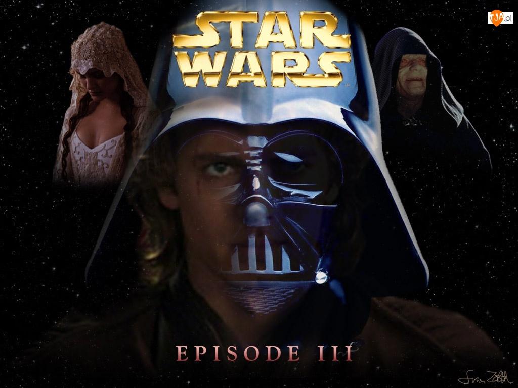 Hayden Christensen, Star Wars Episode 3, napis, gwiazdy, maska, Natalie Portman