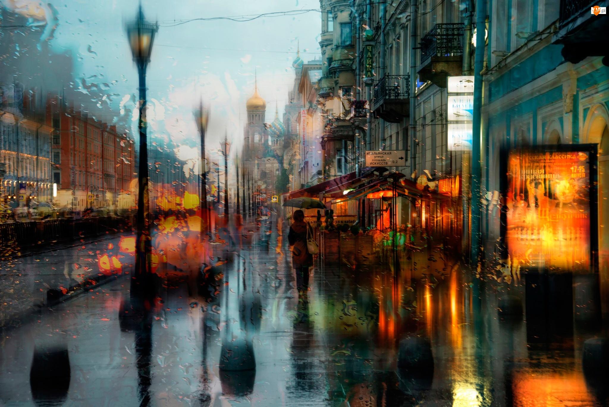 Rosja, Cerkiew, Ulica, Deszcz