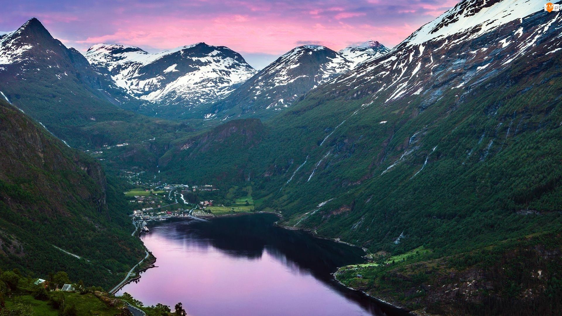 Jezioro, Niebo, Góry, Różowe