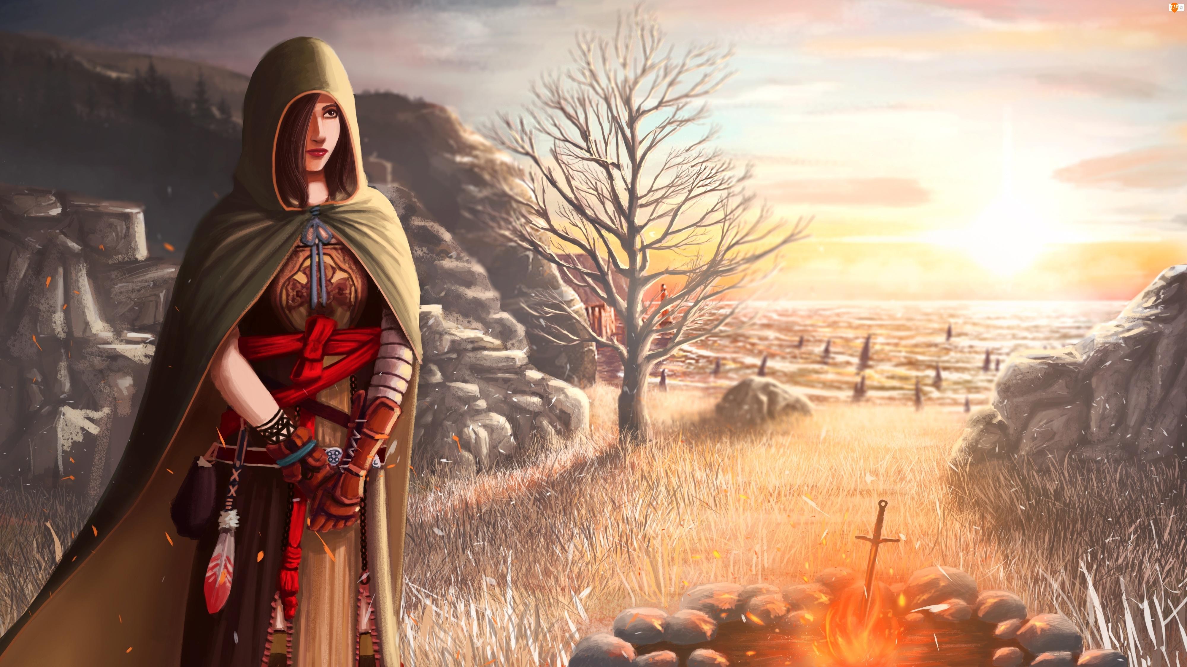 Słońce, Miecz, Rysunek, Dark Souls 2, Ognisko, Gra, Drzewo, Kobieta, Skały
