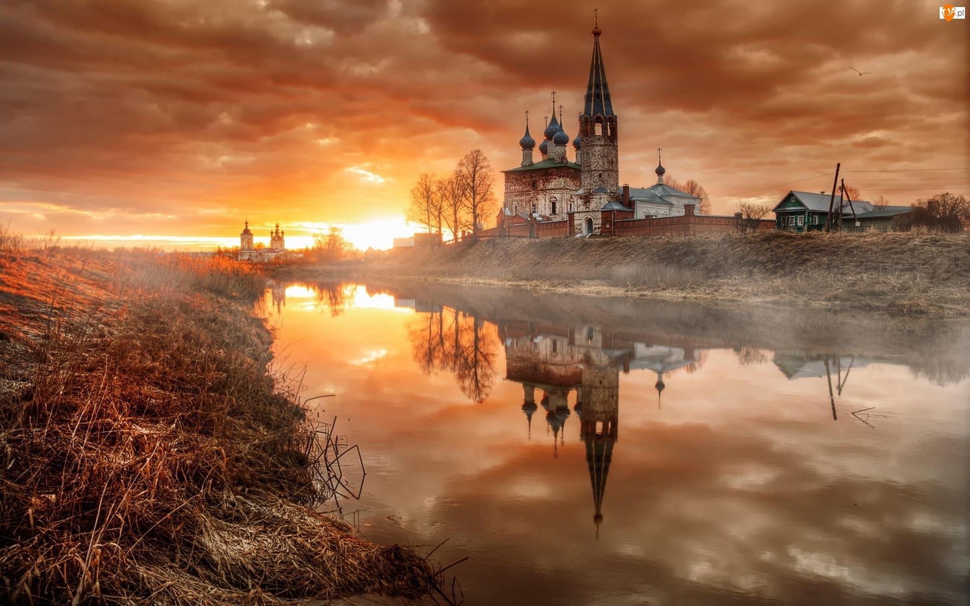 Domy, Świątynia, Odbicie, Dunilovo, Słońca, Rosja, Drzewa, Wschód, Rzeka