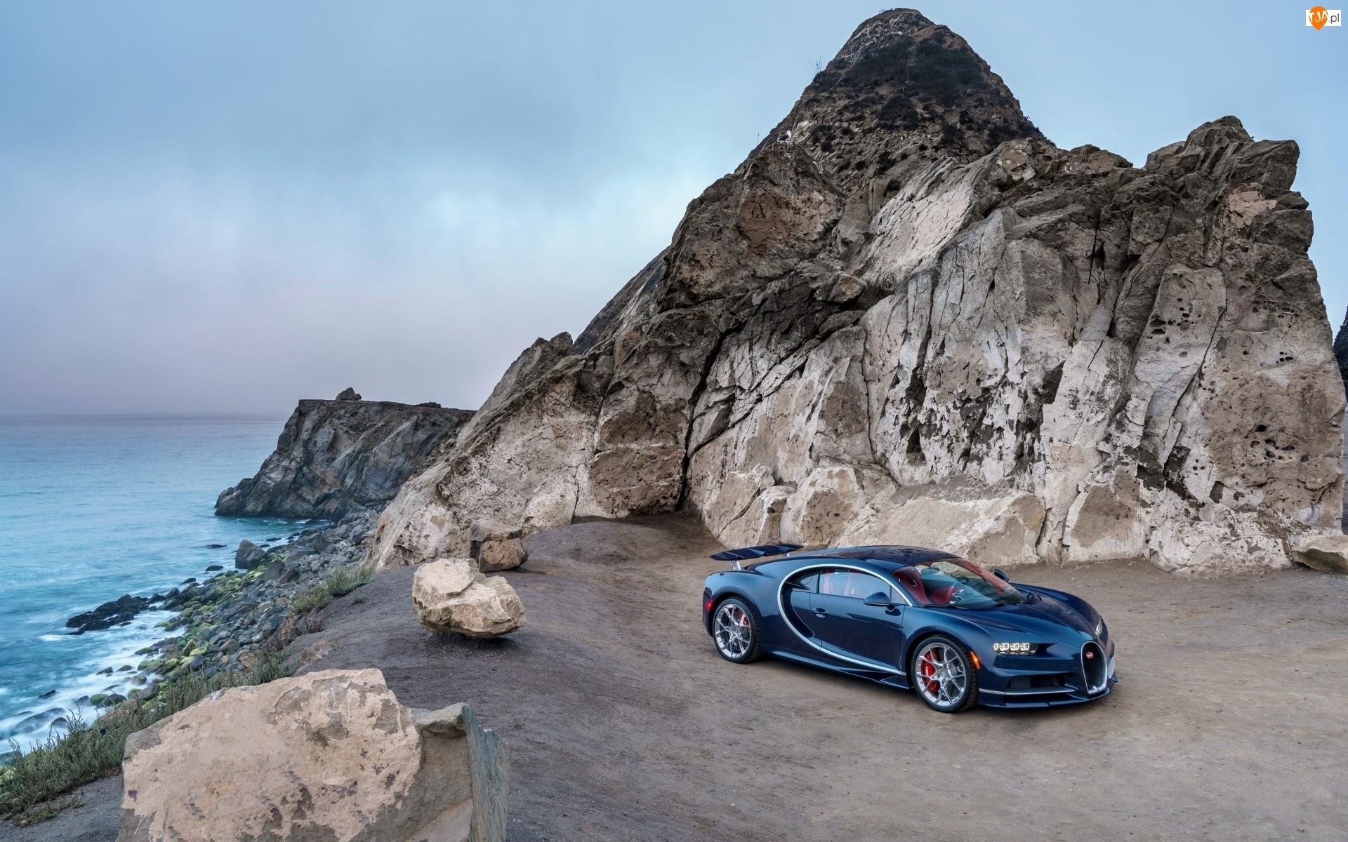 Skały, Bugatti Chiron, Kamienie, Morze