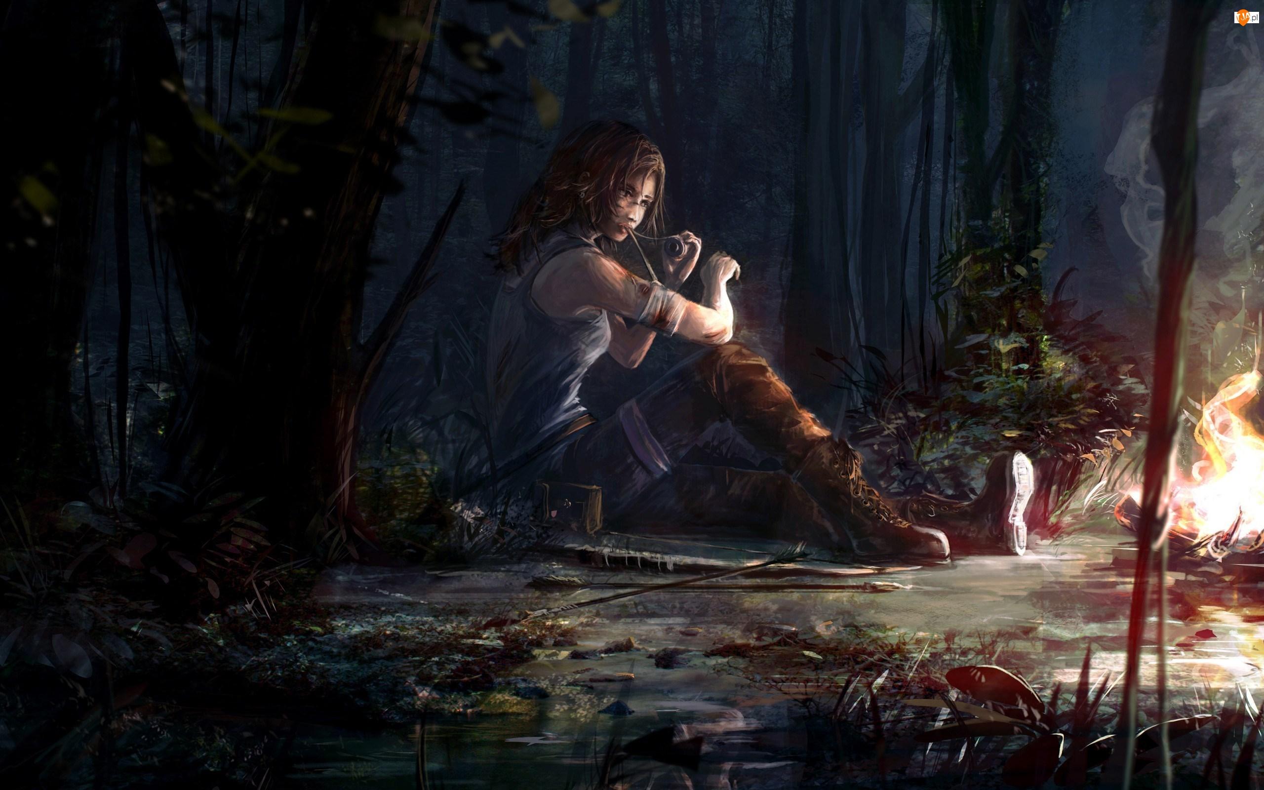 Tomb Raider, Lara Croft, Las, Ranna, Ognisko
