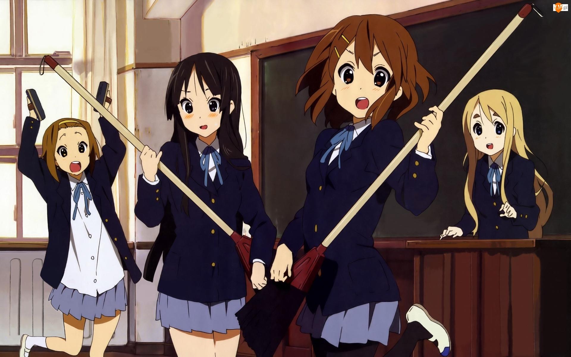 Manga, Tablica, Miotły, Dziewczyny, Anime, Szczotki, Okno