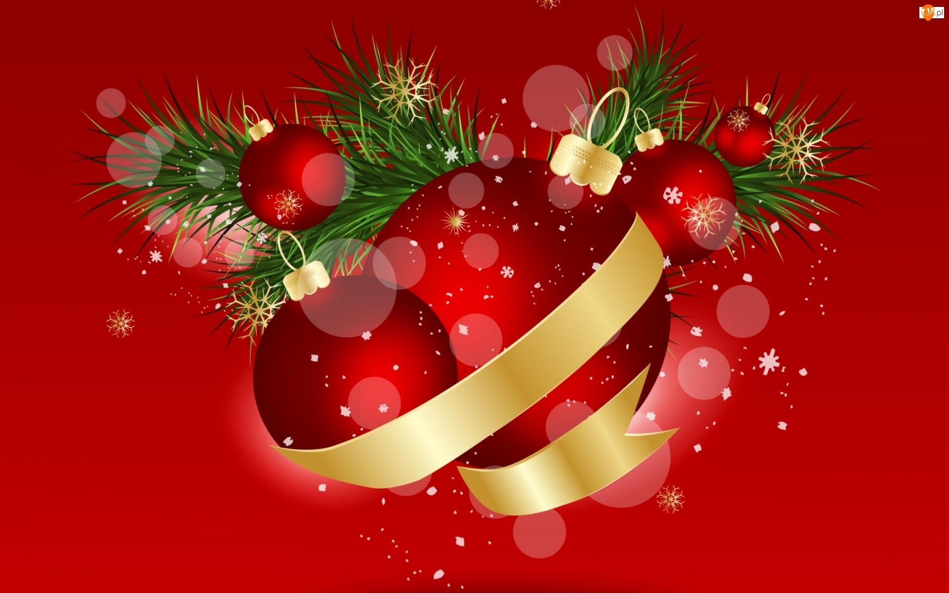 Świąteczna, Bombki, Grafika 2D, Czerwone