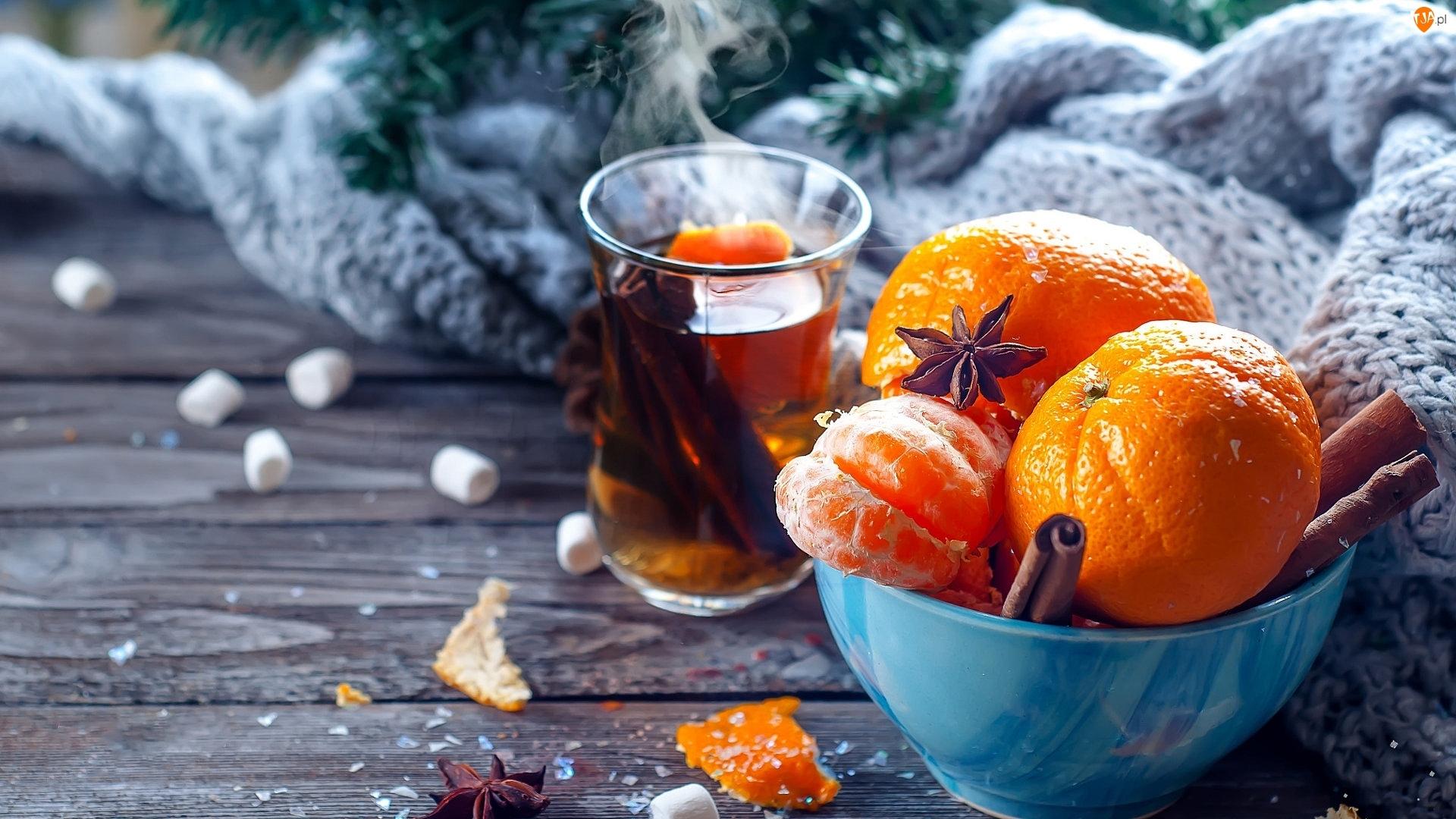 Herbata, Kompozycja, Świąteczna, Mandarynki