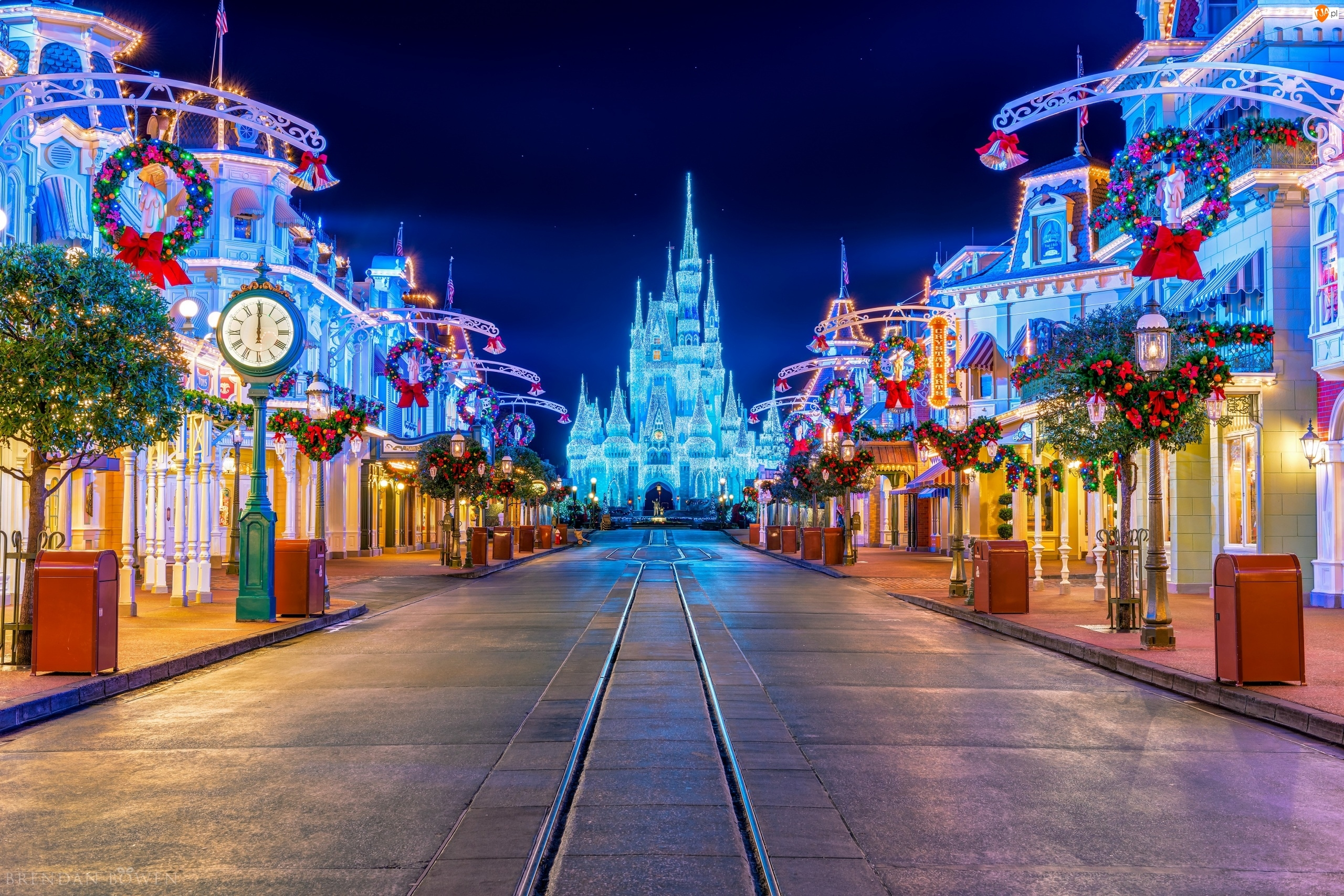 Dekoracje, Disneyland, Boże Narodzenie, Noc, Ulica