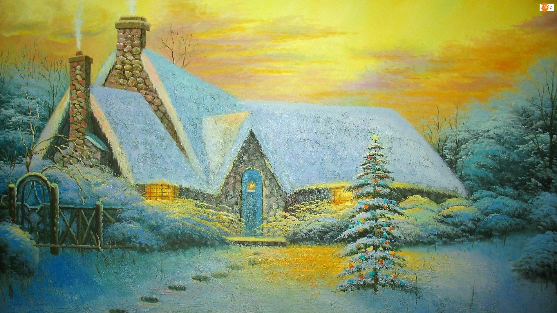 Dom, Malarstwo, Zima, Obraz, Boże Narodzenie