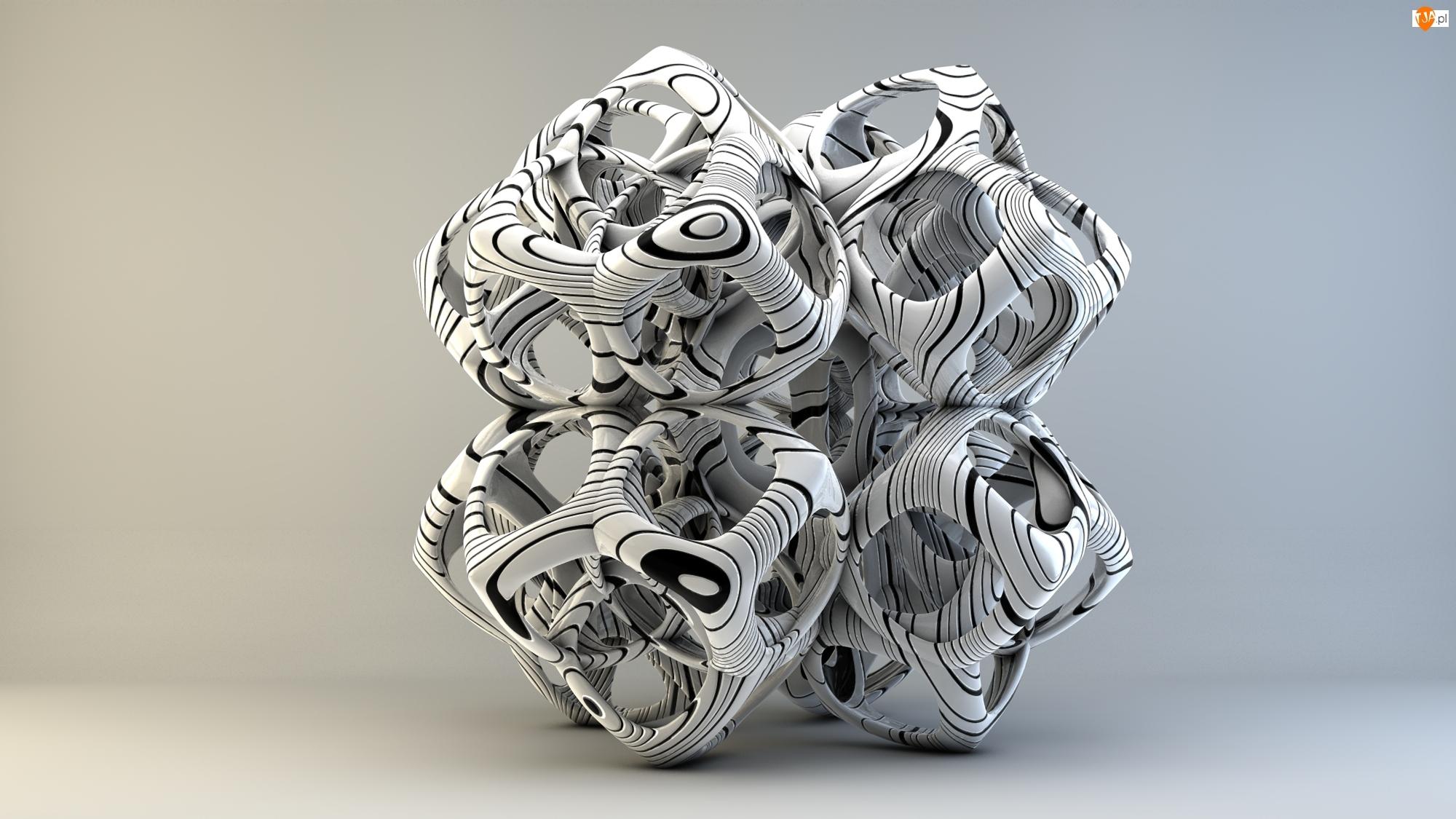 Grafika 3D, Kostka, Wektorowa, Biało-czarna