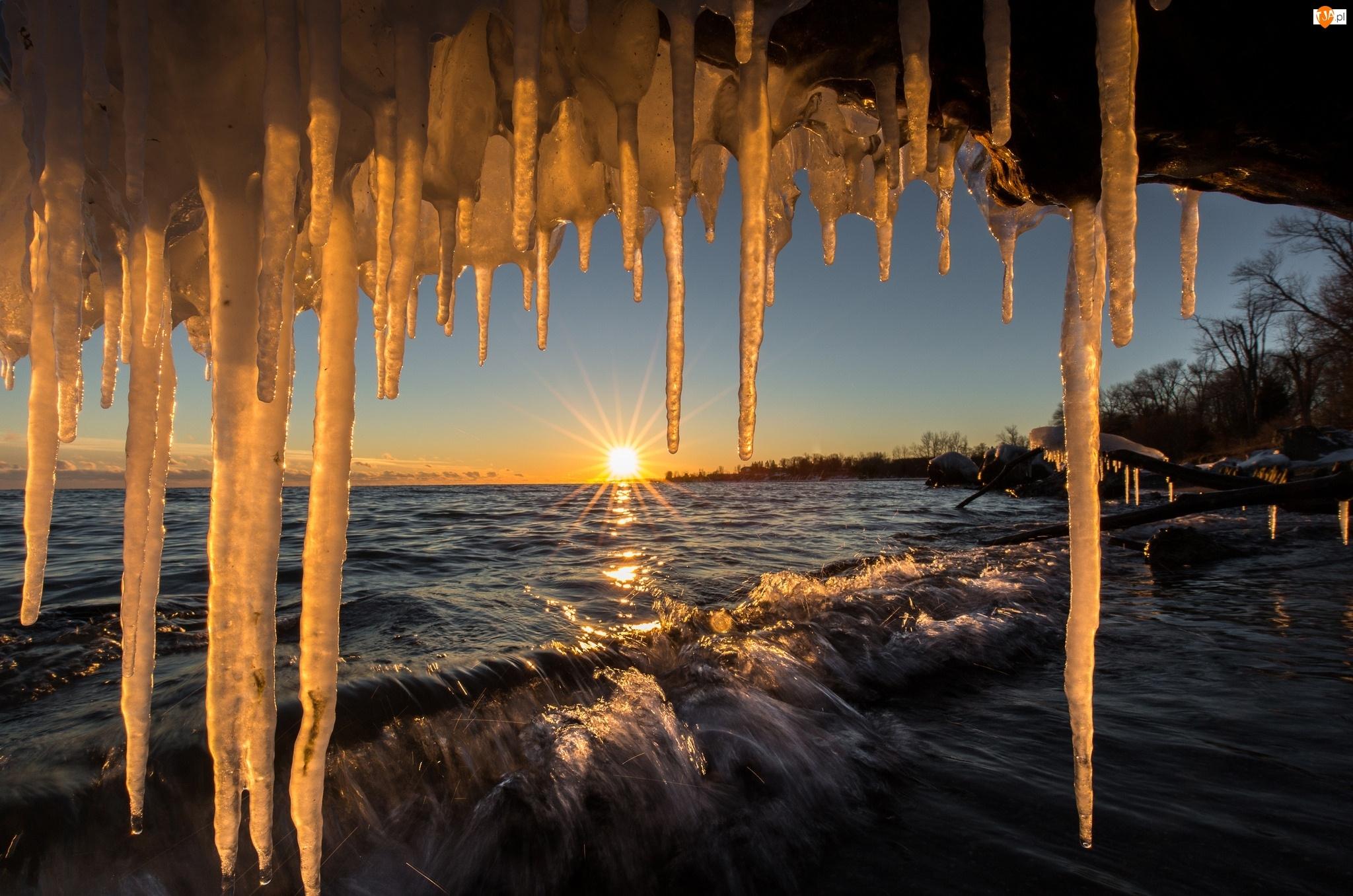 Wschód słońca, Kanada, Sople, Jezioro Ontario