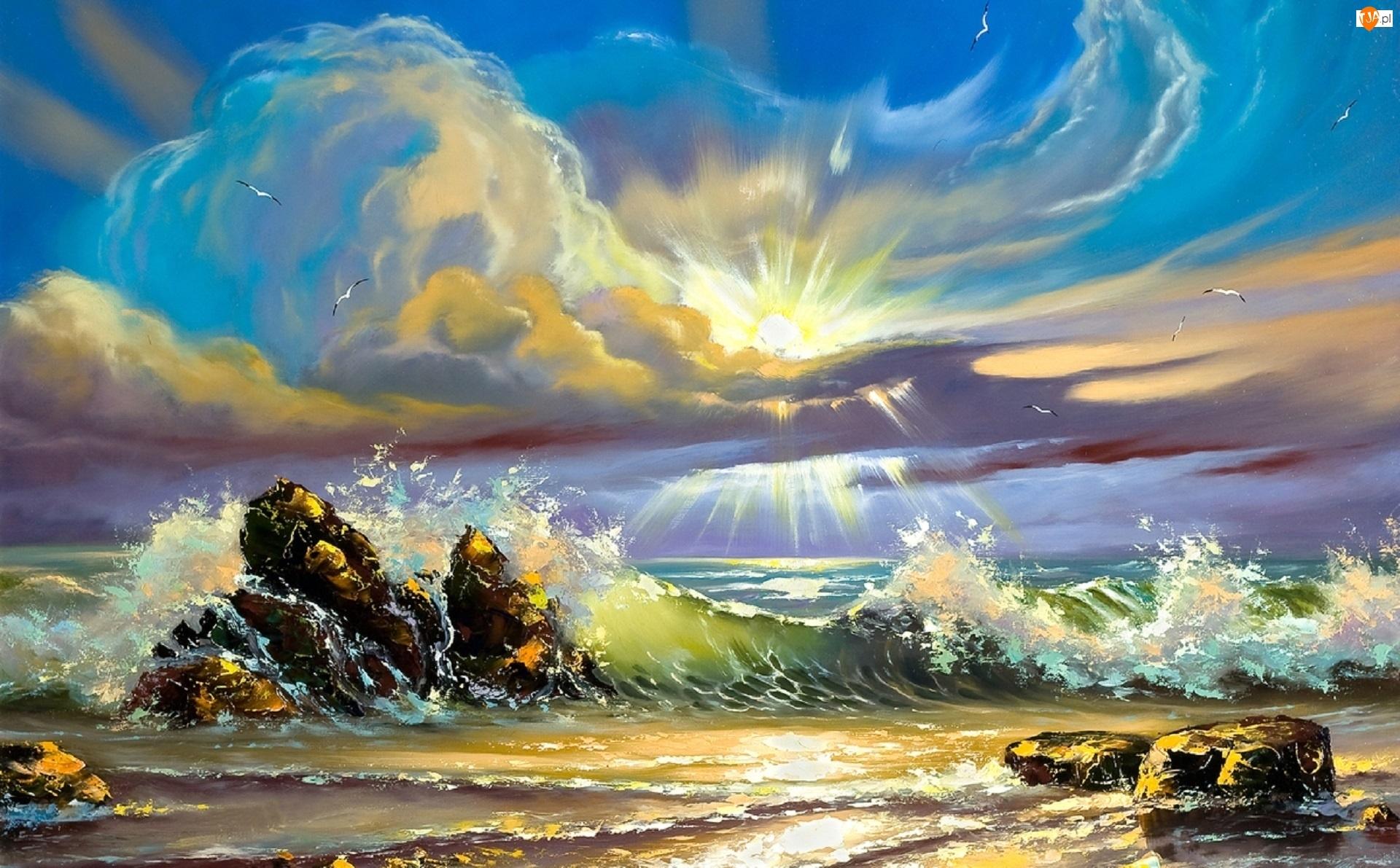 Wschód słońca, Skały, Morze, Fale