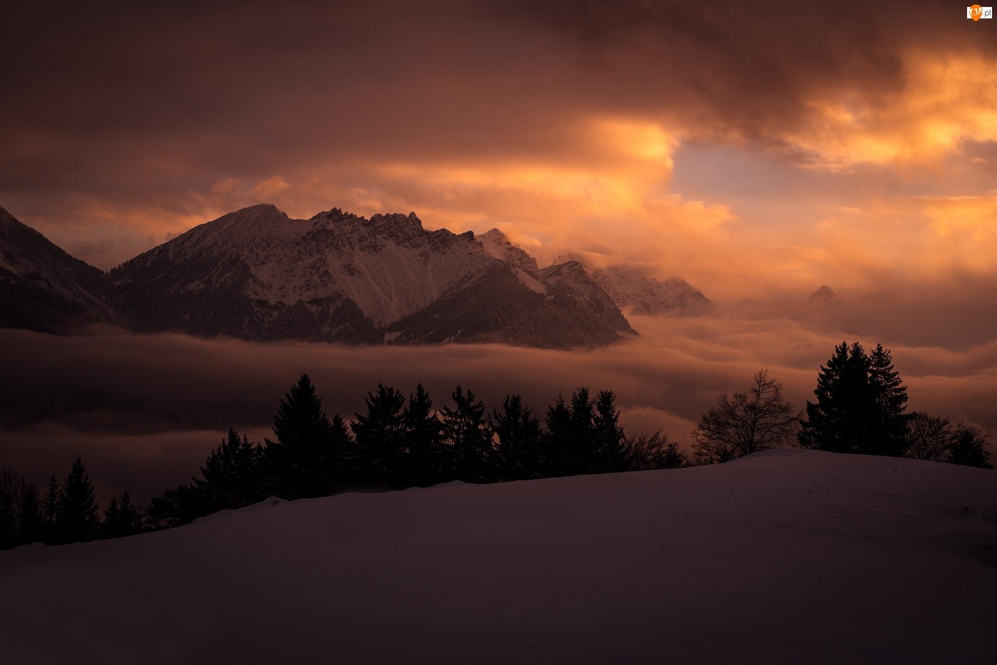 Zima, Zmrok, Góry, Chmury