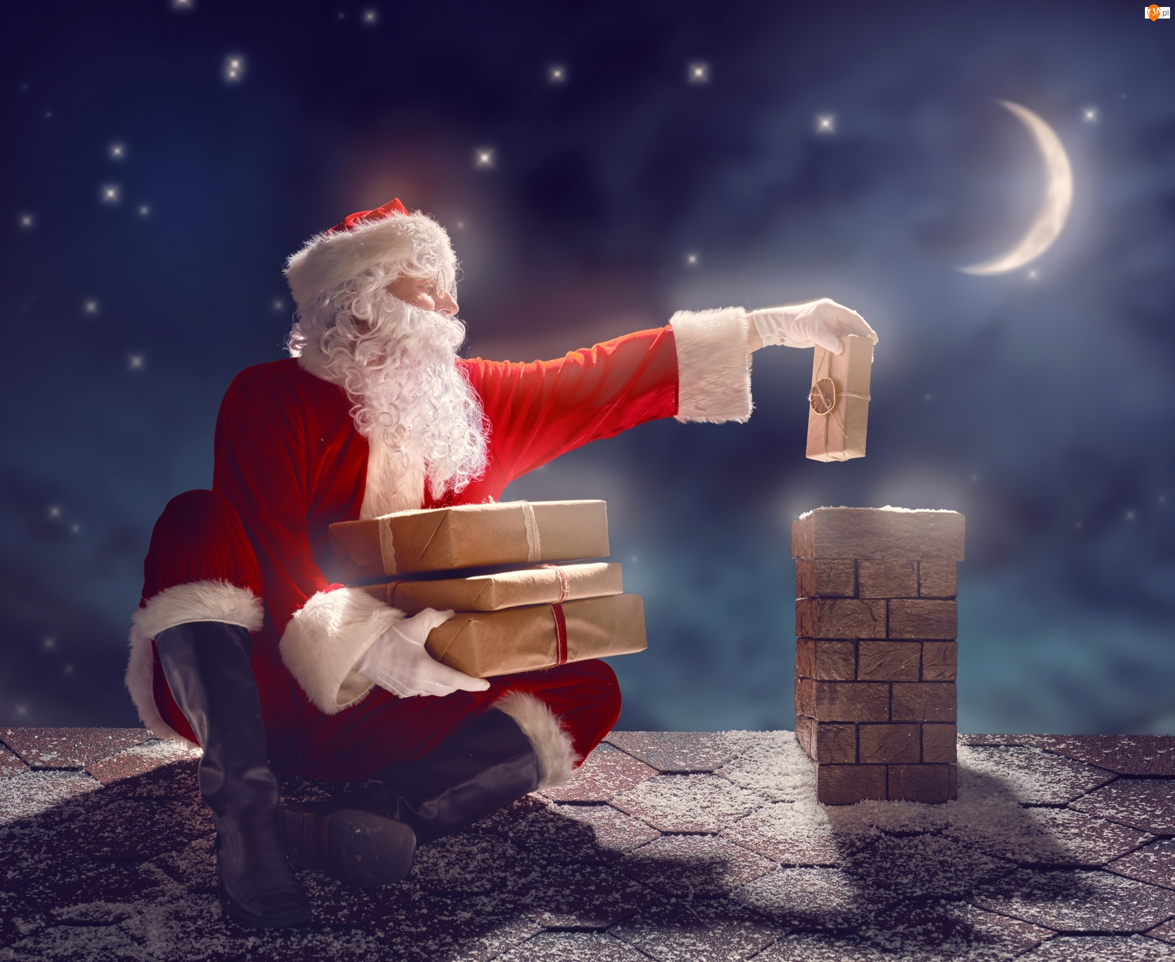 Świąteczne, Święty Mikołaj, Komin, Dach, Prezenty