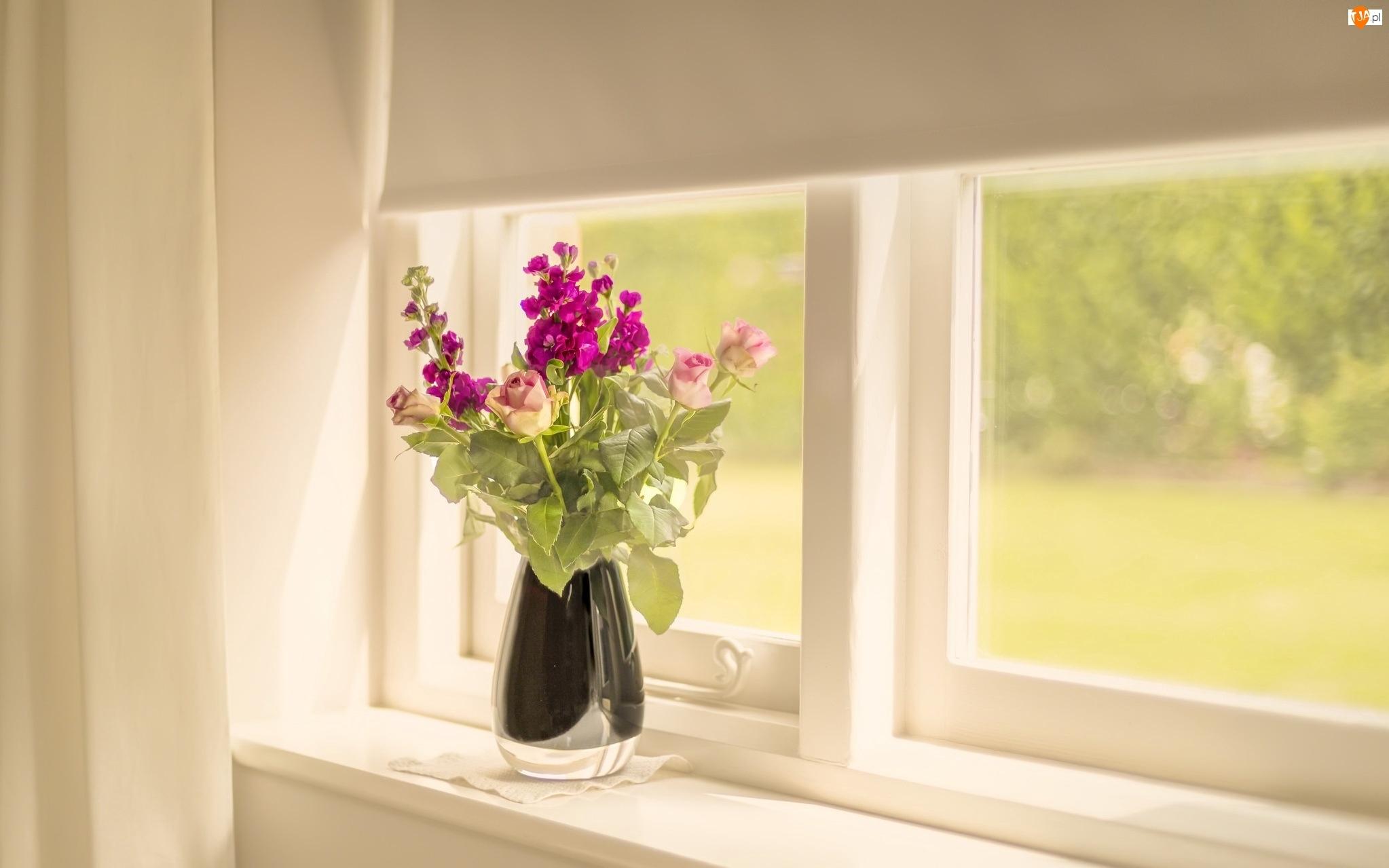 Bukiet, Wazonik, Dekoracja, Okno, Kwiaty, Róże