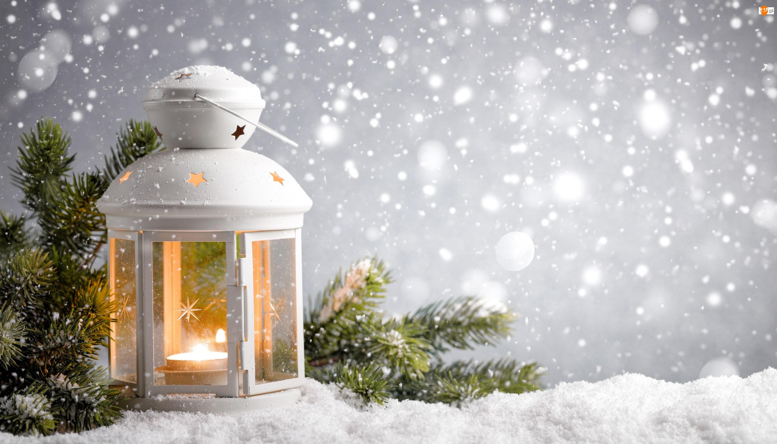 Świąteczna, Śnieg, Dekoracja, Lampion