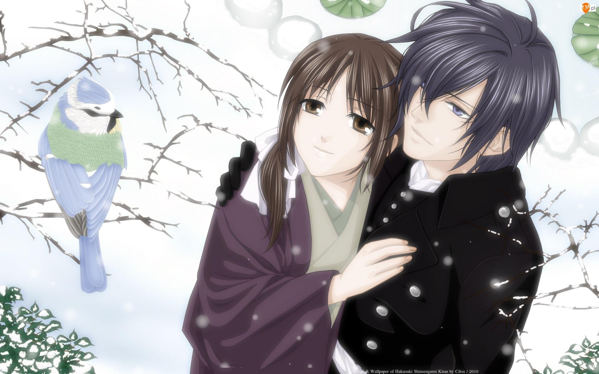 Hakuouki Shinsengumi Kitan, Manga Anime, Para, Sikorka, Śnieg