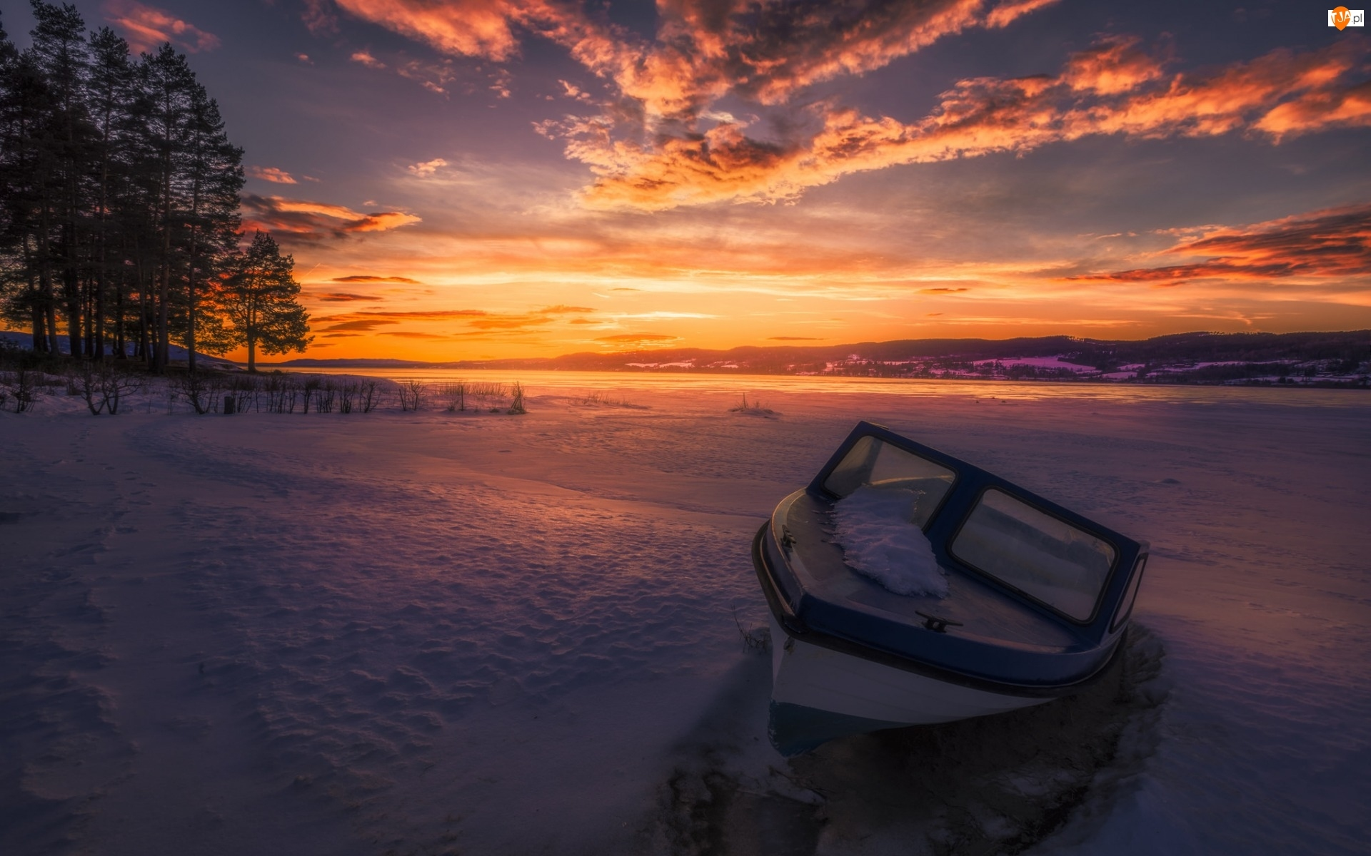Zima, Motorówka, Zachód Słońca, Jezioro