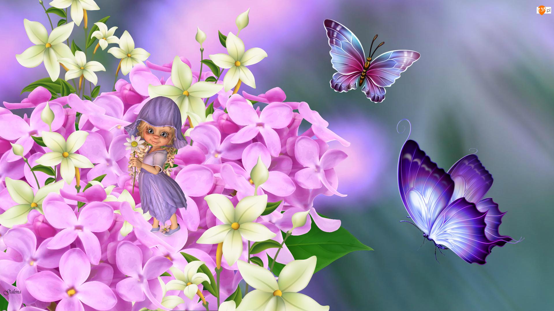 Kwiaty, Grafika 2D Motyl, Laleczka, Motyle
