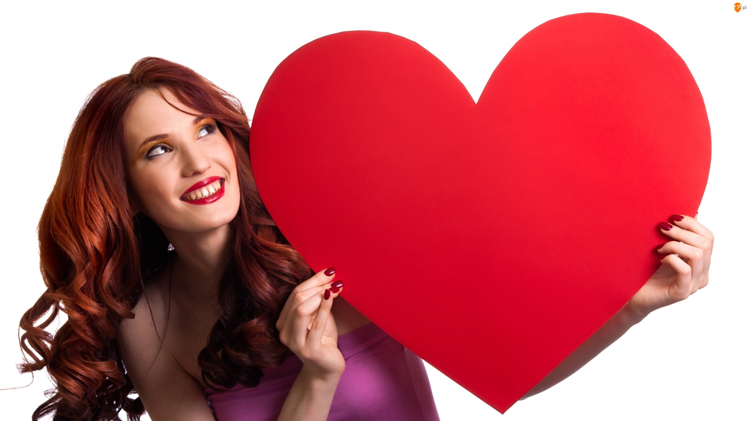 Uśmiechnięta, Walentynki, Kobieta, Serce