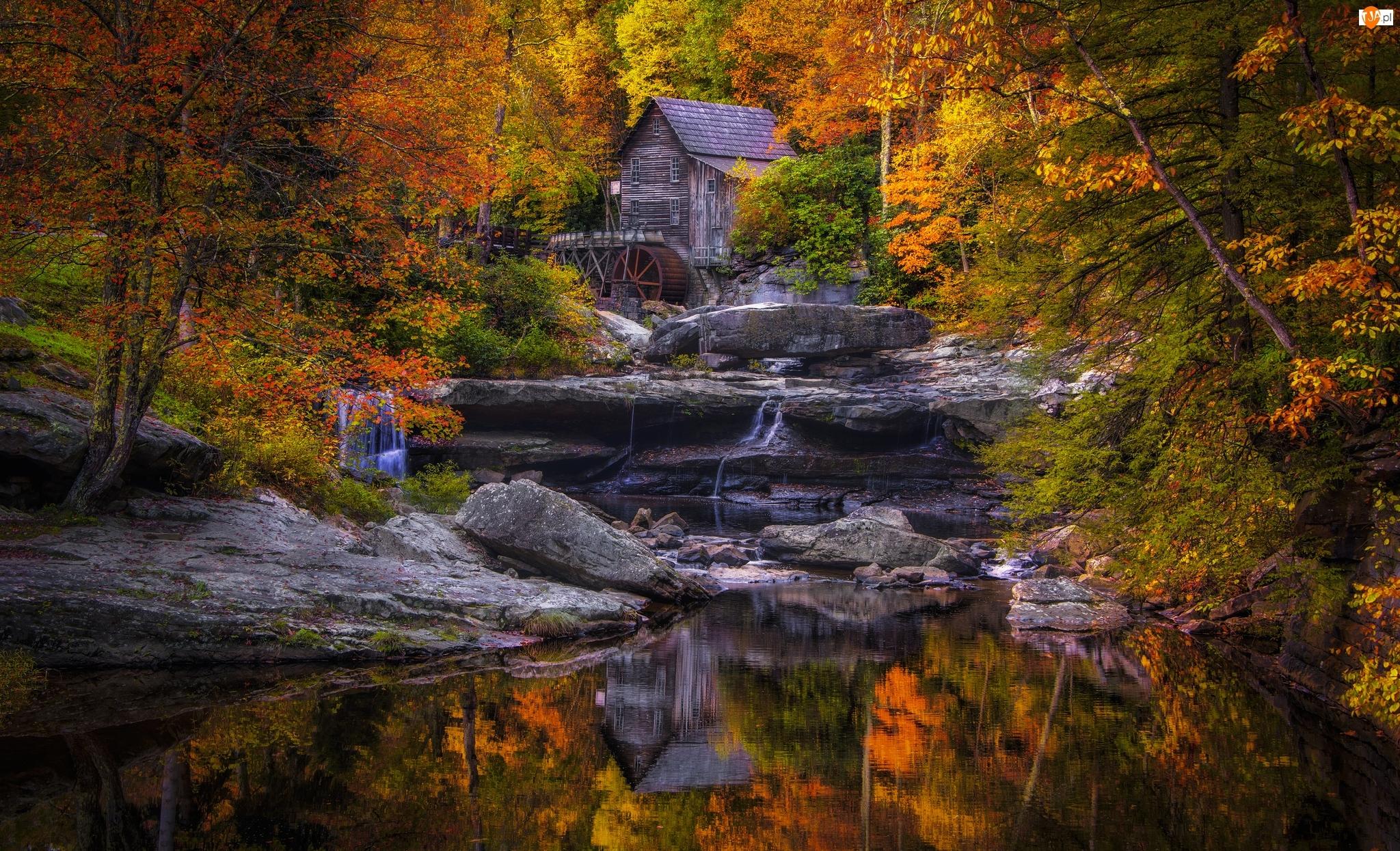 Park Stanowy Babcock, Jesień, Stany Zjednoczone, Kamienie, Wirginia Zachodnia, Młyn