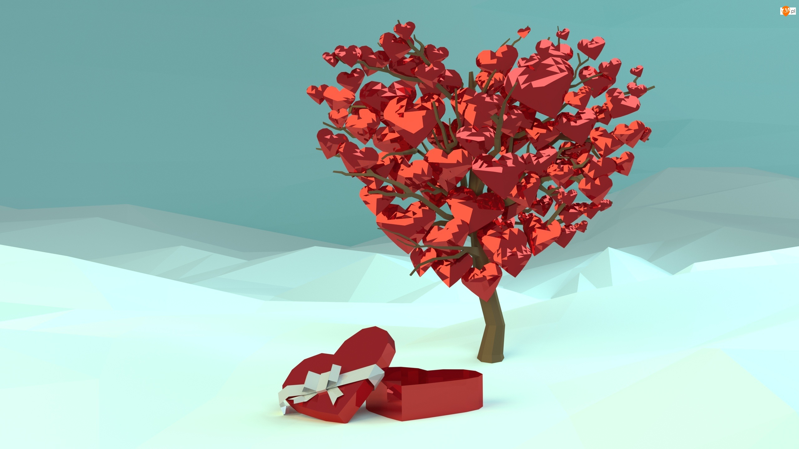 Walentynki, Serca, Grafika 3D, Drzewo