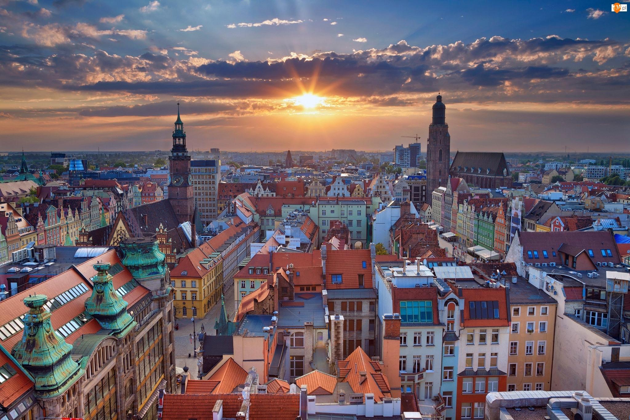 Polska, Zachód słońca, Wrocław, Panorama miasta