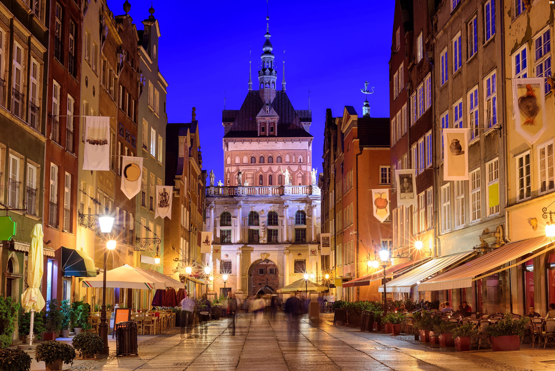 Polska, Miasto nocą, Gdańsk, Ulica