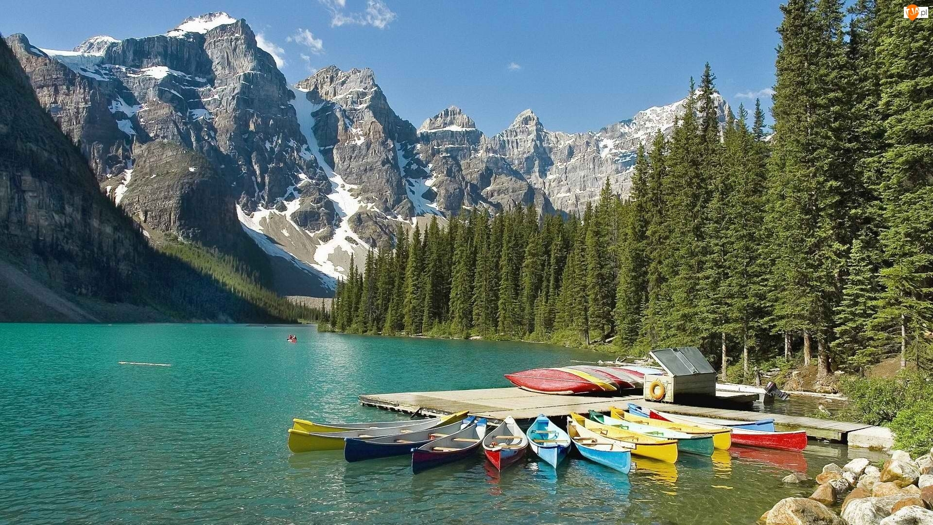 Las, Góry, Pomost, Jezioro, Kajak