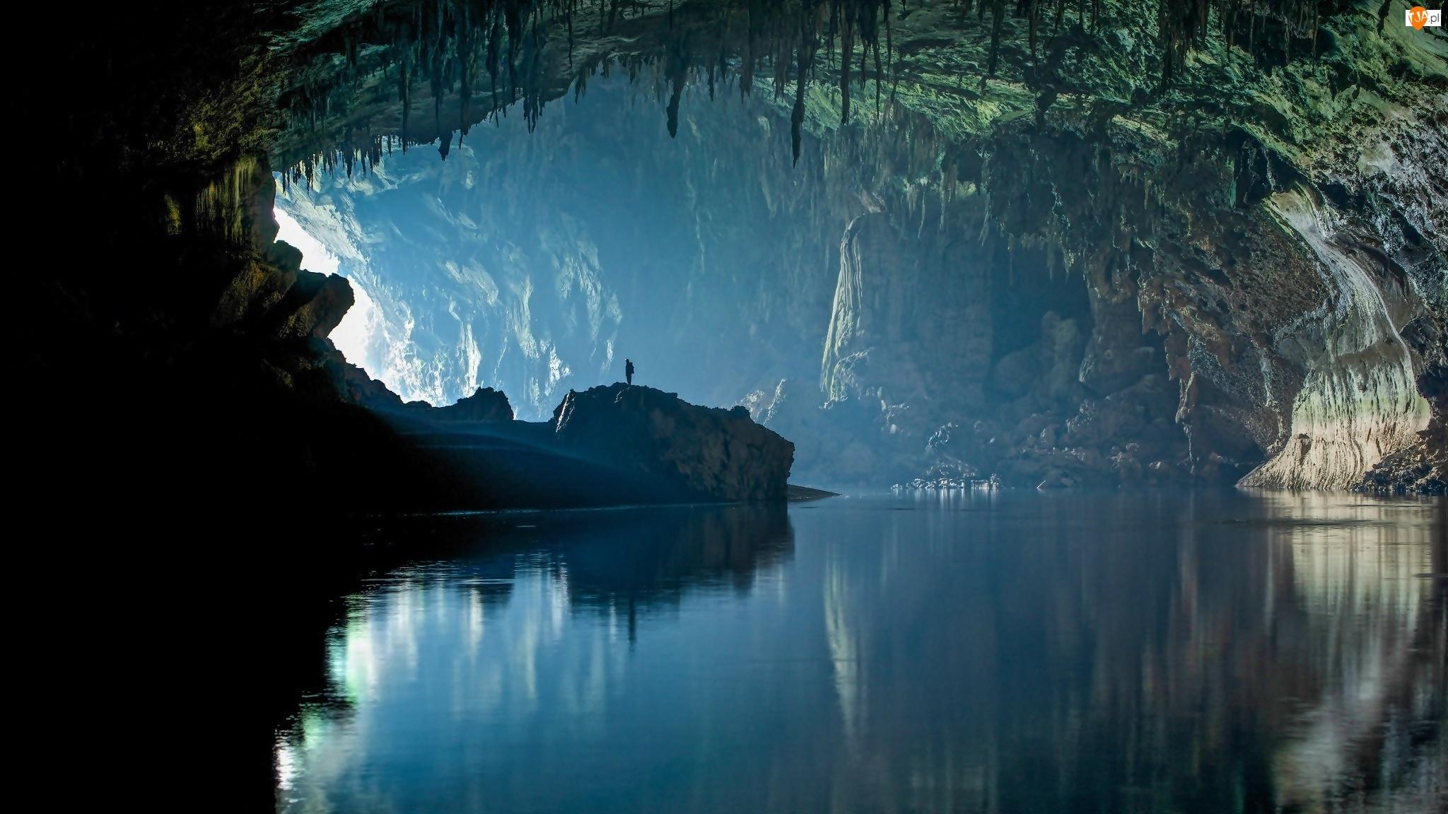 Jaskinia, Człowiek, Jezioro, Skały