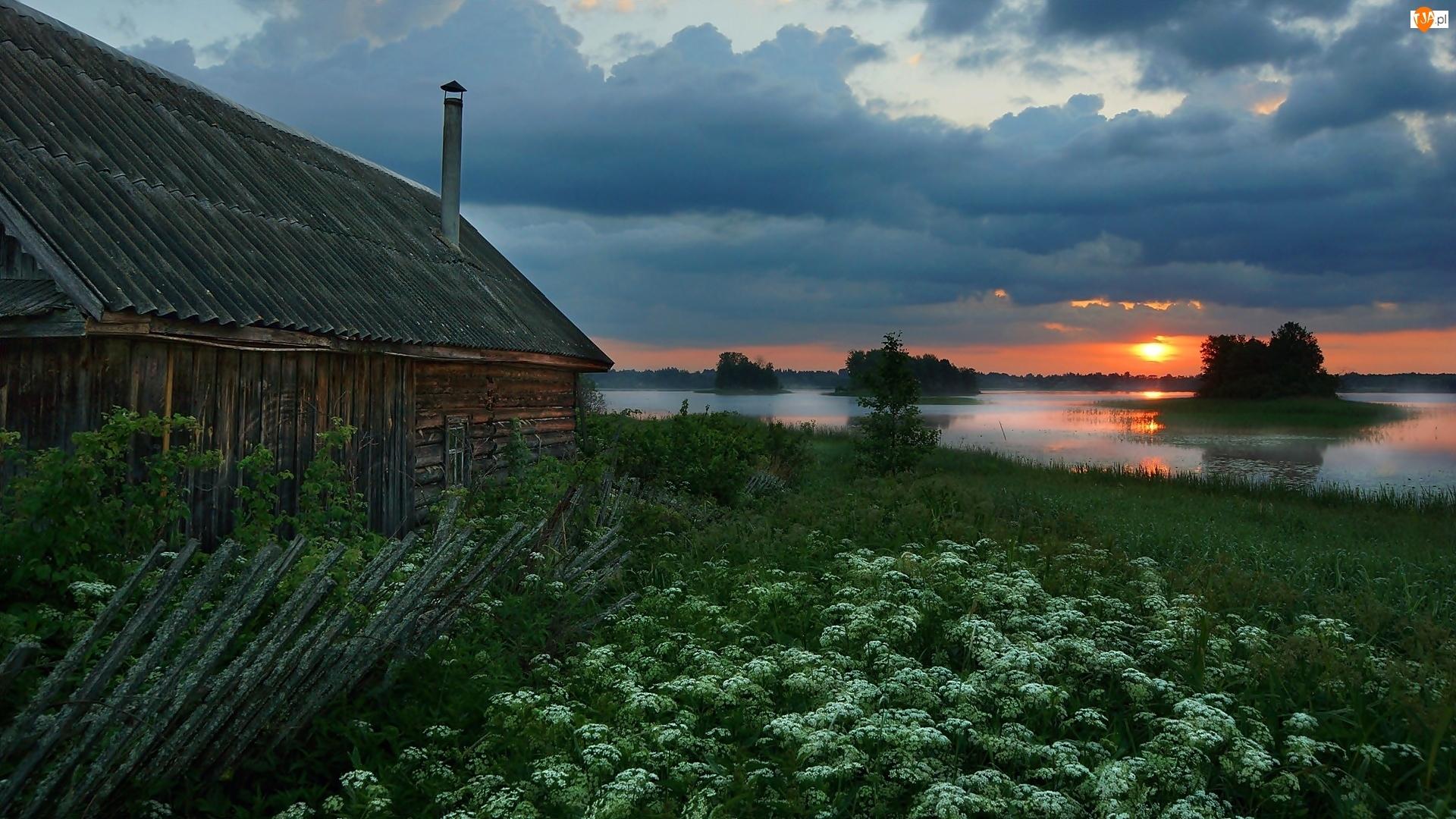 Kwiaty, Drewniany, Jezioro Ordosno, Rosja, Zachód słońca, Wysepki, Dom